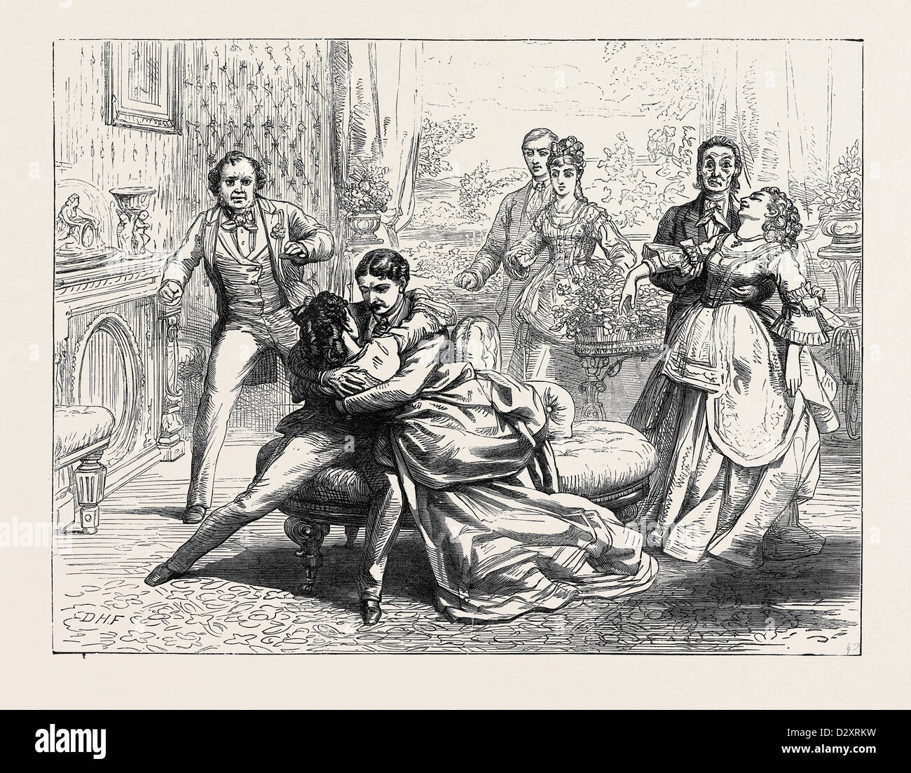 SCENE FROM PARTNERS FOR LIFE AT THE GLOBE THEATRE LONDON 1871 - Stock Image