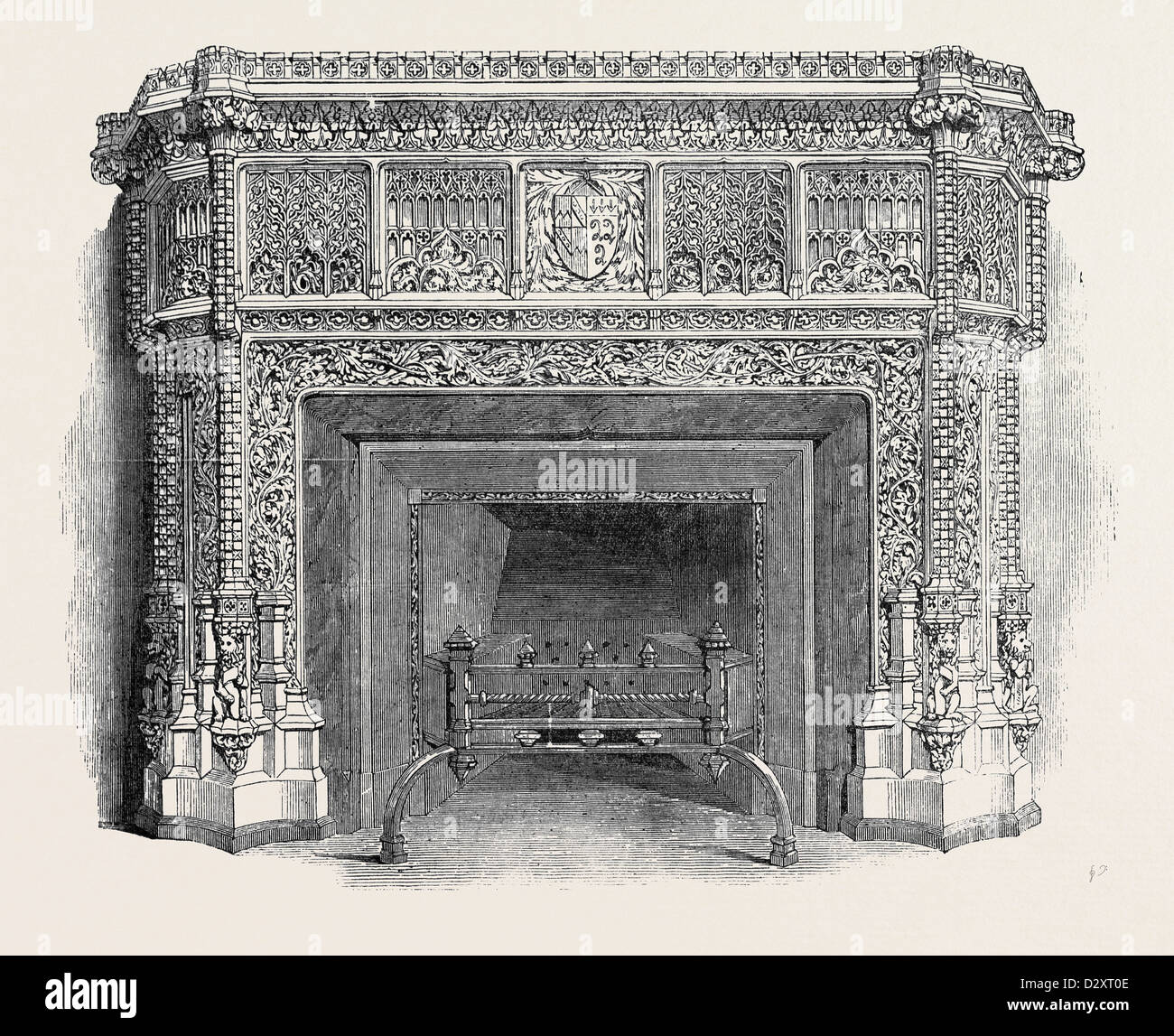 GOTHIC MANTEL PIECE, BY WYNNE AND LUMSDEN, THE GREAT EXHIBITION - Stock Image