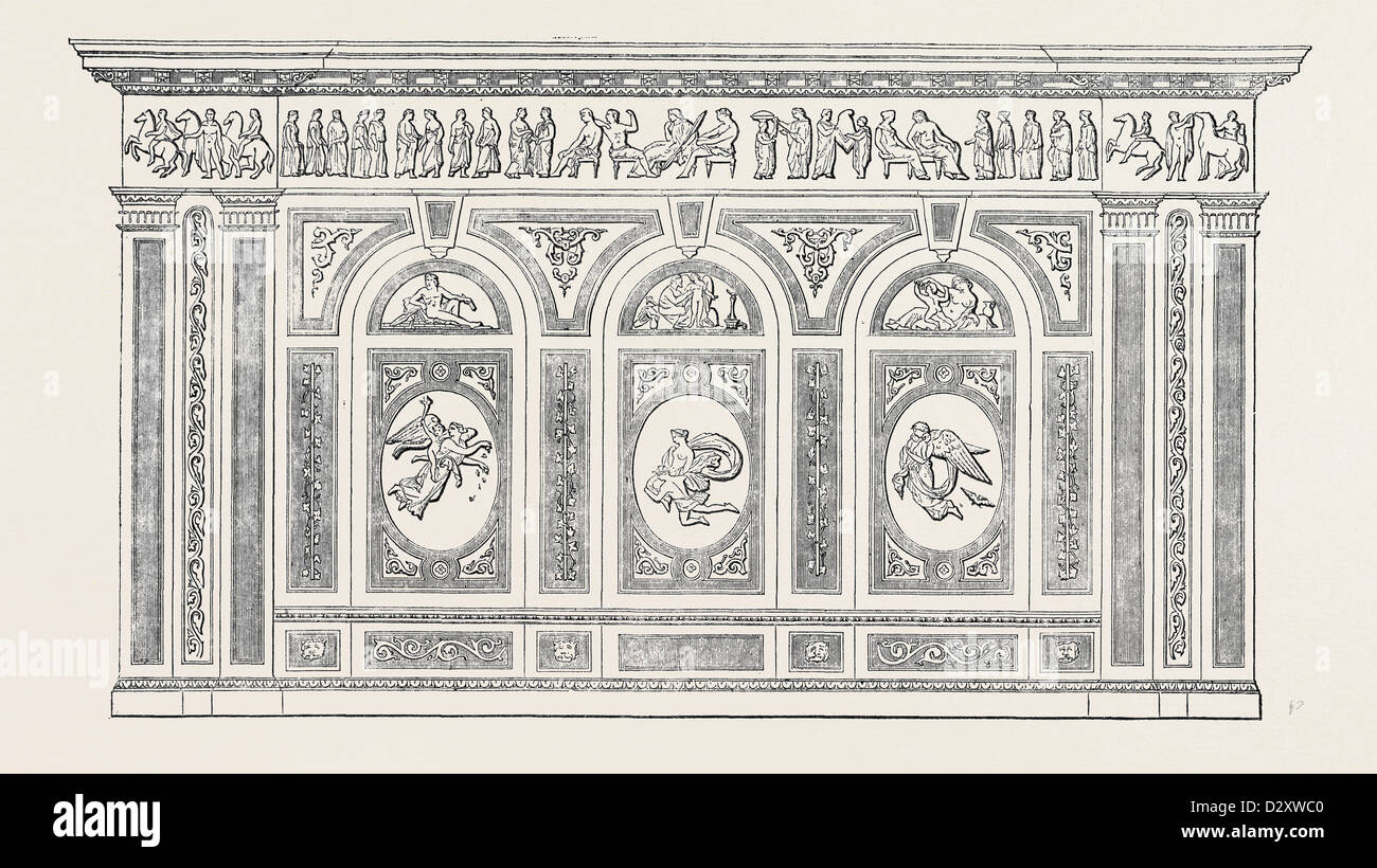 WALL DECORATION IN MARTIN'S CEMENT, BY STEVENS AND SON - Stock Image