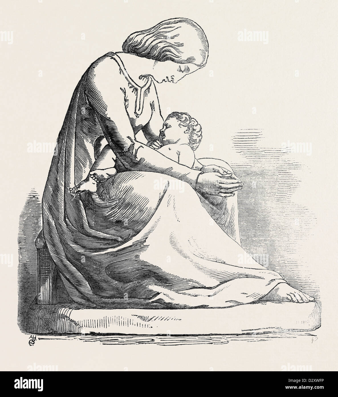 THE MOTHER'S PRAYER. (SCULPTURE), BY W.C. MARSHALL, R.A., EXHIBITION OF THE ROYAL ACADEMY - Stock Image