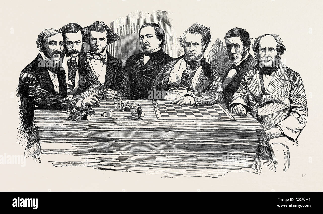 CHESS CELEBRITIES AT THE LATE CHESS MEETING, JULY 14, 1855 - Stock Image