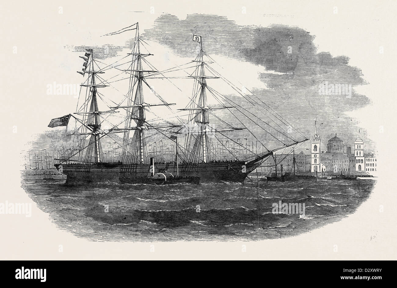 EMBARKATION OF THE 3RD REGIMENT OF LANCASHIRE MILITIA, AT LIVERPOOL, FOR GIBRALTAR - Stock Image
