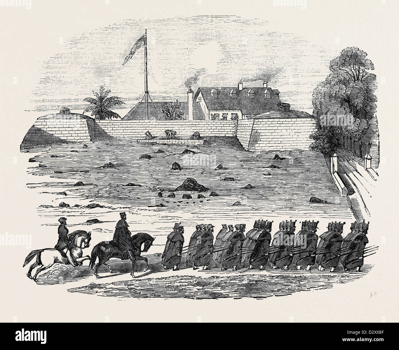 THE LATE DISASTER AT MALLAGHEA, RETURN OF PART OF THE 3RD WEST INDIA REGIMENT TO FREETOWN - Stock Image
