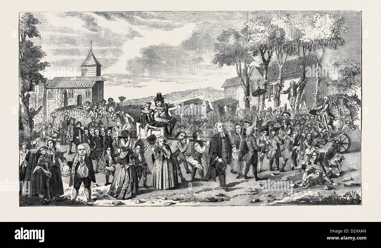 THE DUNMOW PROCESSION, JUNE 20, 1751 - Stock Image
