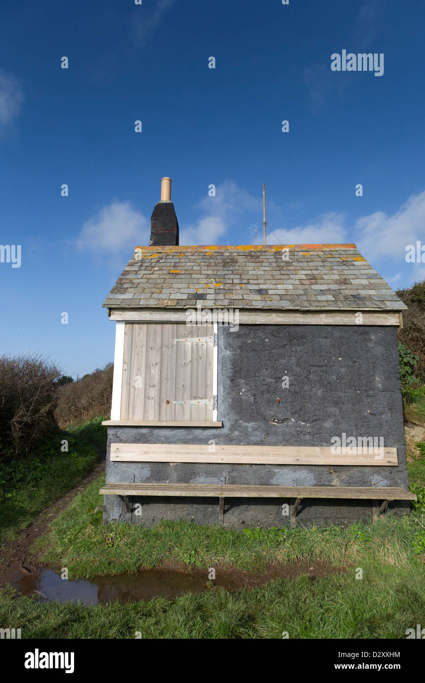 Cadgwith Lookout Hut; Cornwall; UK - Stock Image