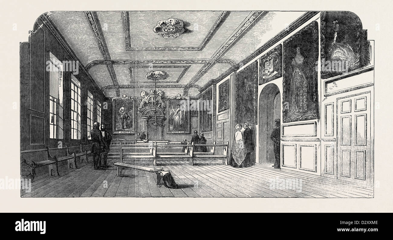 THE TOWN-HALL, WINDSOR; WITH THE PORTRAITS OF HER MAJESTY AND HIS ROYAL HIGHNESS PRINCE ALBERT, 1852 - Stock Image