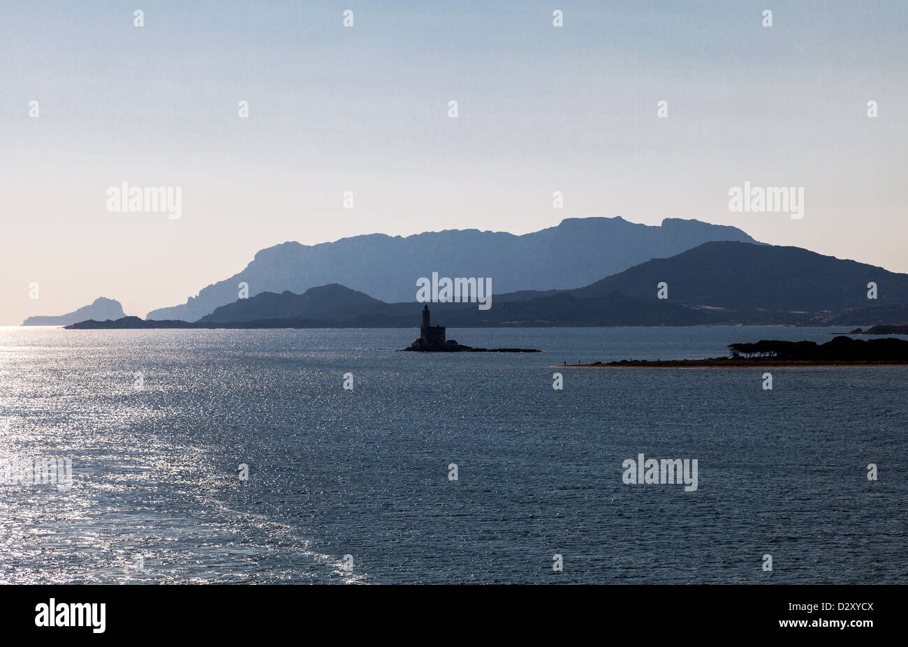 Italy, Sardinia, the beacon of the Olbia harbor - Stock Image