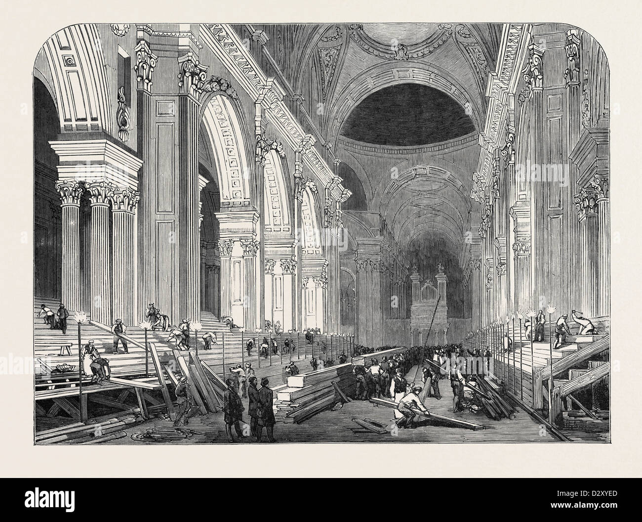 PREPARATION IN ST. PAUL'S CATHEDRAL, FOR THE FUNERAL OF THE DUKE: THE NAVE, BY GASLIGHT, 1852 - Stock Image