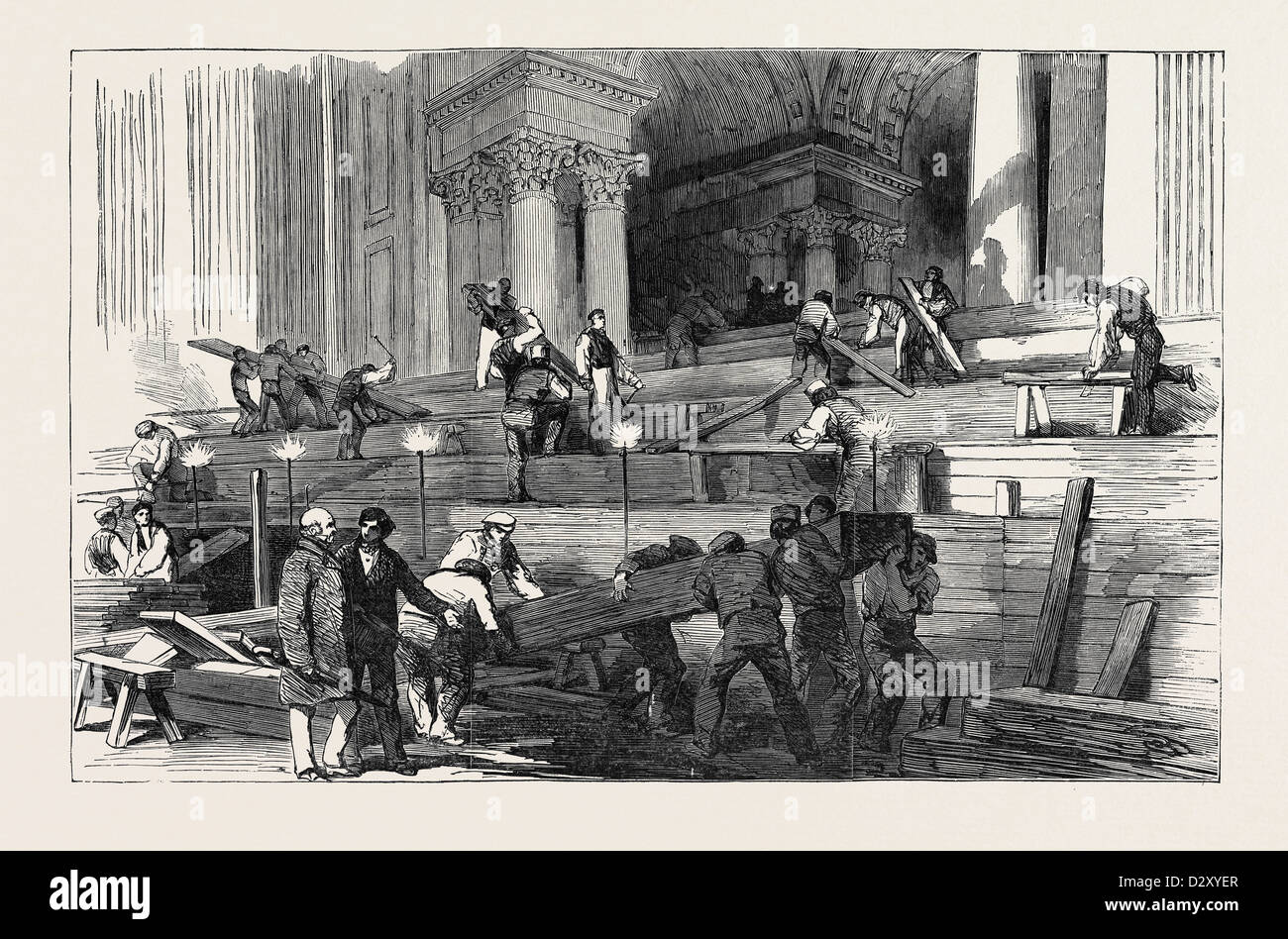PREPARATION IN ST. PAUL'S CATHEDRAL, FOR THE FUNERAL OF THE DUKE: SIDE AISLE, BY GASLIGHT, 1852 - Stock Image