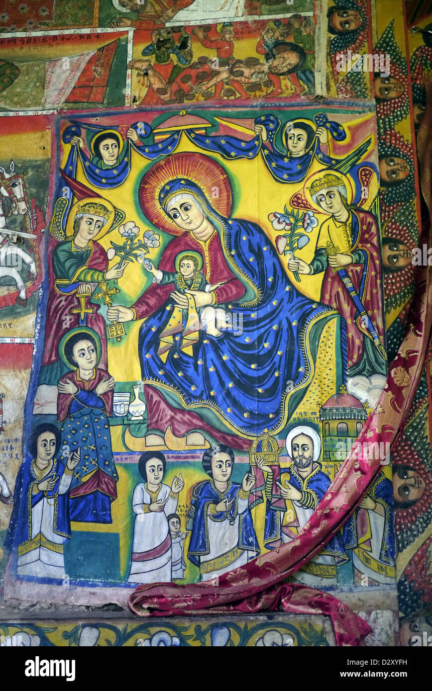 ethiopia ura kidane meret monastery zege peninsula lake tana religious paintings inside church mary jesus - Stock Image