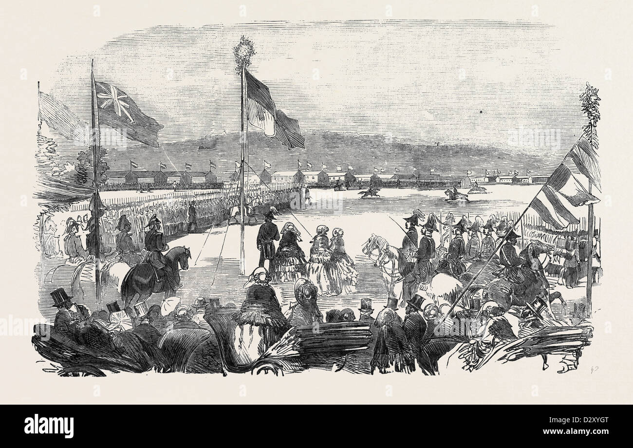 REVIEW OF THE FOREIGN LEGION BY HER MAJESTY, AT SHORNCLIFFE, AUGUST 18, 1855 - Stock Image