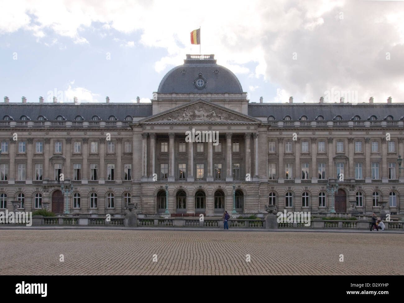 Main façade of the neoclassical Royal Palace of Brussels in Belgium. - Stock Image
