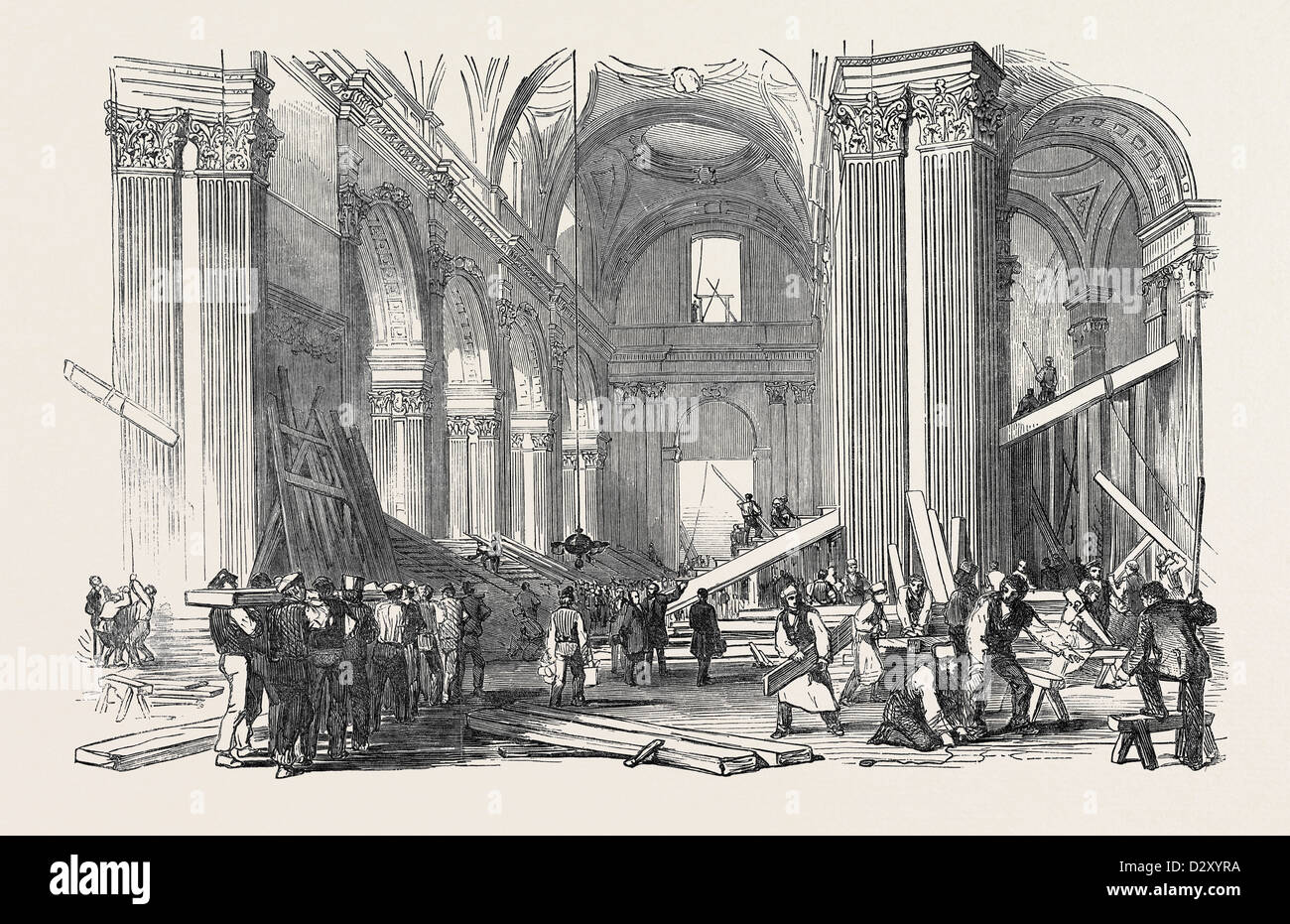 PREPARATIONS FOR THE FUNERAL OF THE DUKE OF WELLINGTON, IN ST. PAUL'S CATHEDRAL: VIEW IN THE NAVE, LOOKING WEST, - Stock Image