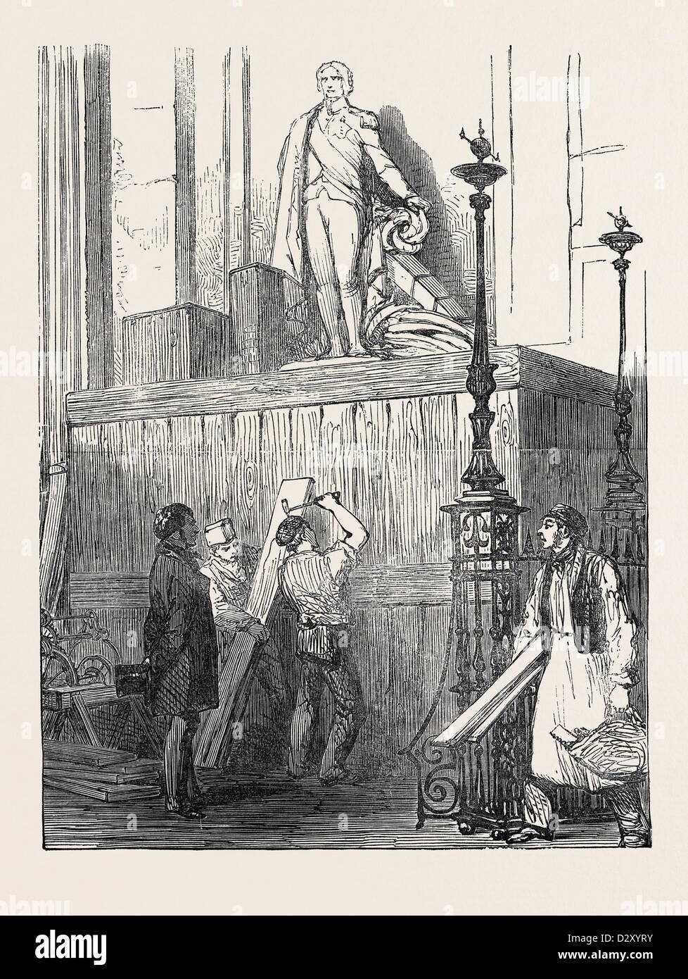 PREPARATIONS FOR THE FUNERAL OF THE DUKE OF WELLINGTON, IN ST. PAUL'S CATHEDRAL: THE NELSON MONUMENT, 1852 - Stock Image