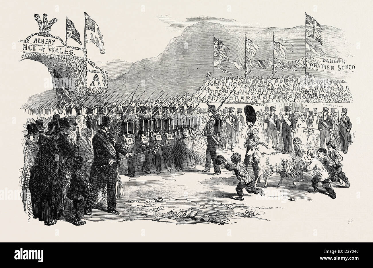 RECEPTION OF HER MAJESTY, QUEEN VICTORIA, AT BANGOR, 1852 - Stock Image