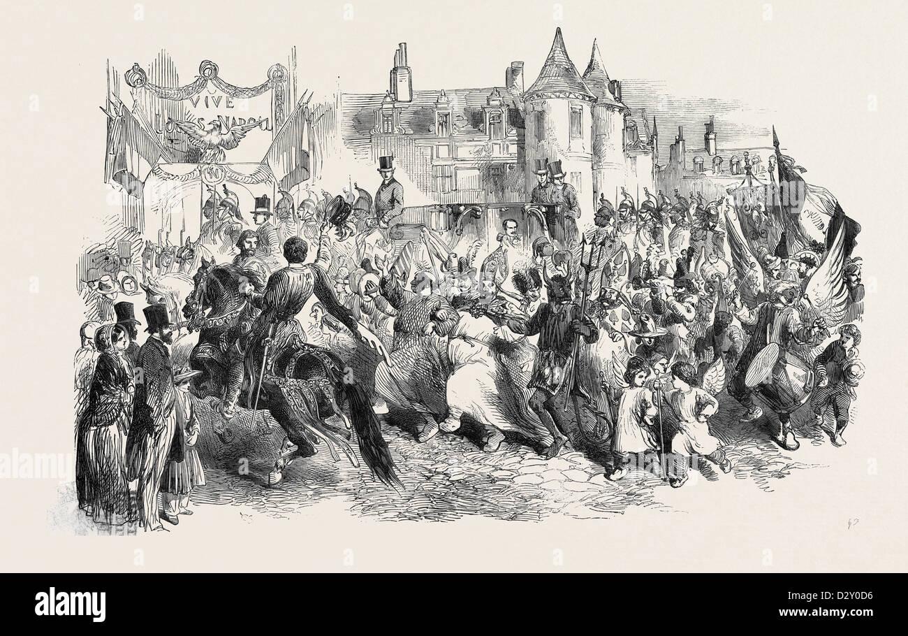 THE FRENCH PRESIDENT'S TOUR: LOUIS NAPOLEON AT AIX, LES JEUX DE LA FETE-DIEU, 1852 - Stock Image