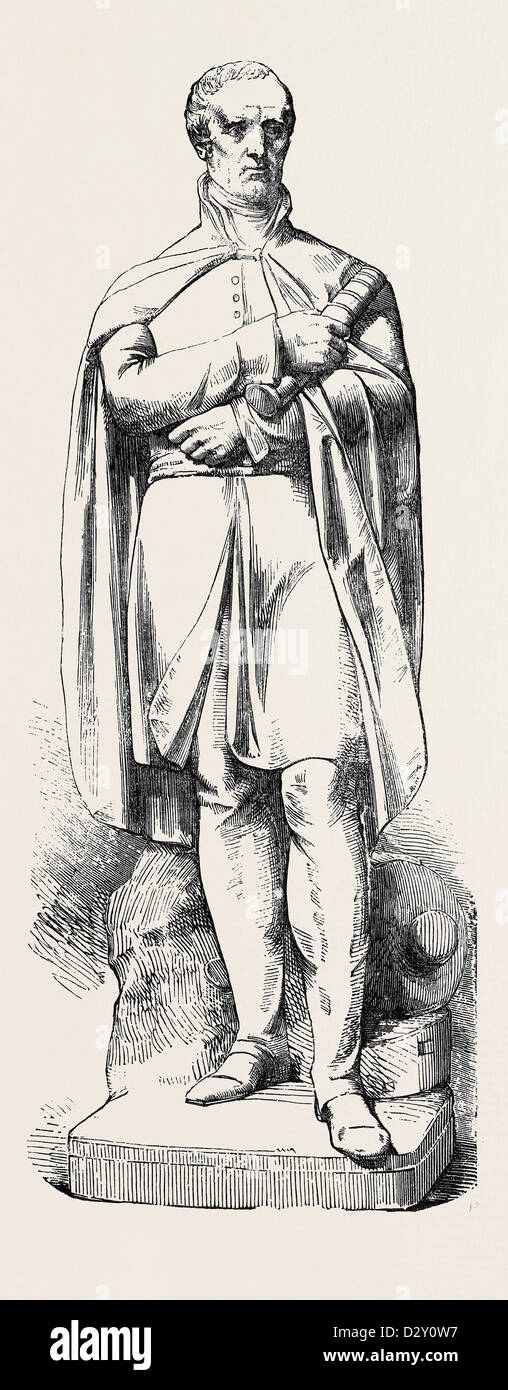 MARBLE STATUE OF THE LATE DUKE OF WELLINGTON, BY NOBLE. JUST ERECTED AT THE EAST INDIA HOUSE. Stock Photo