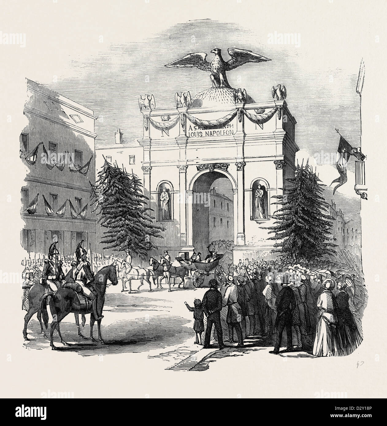 ARRIVAL OF THE PRESIDENT OF FRANCE AT THE TRIUMPHAL ARCH, AT ST. ETIENNE, 1852 - Stock Image