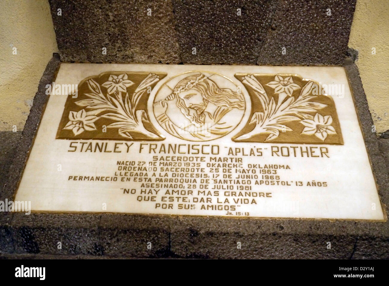 catholic church memorium slayed martyr fr stanley rother santiago latin america central 20121106 atitlan - Stock Image