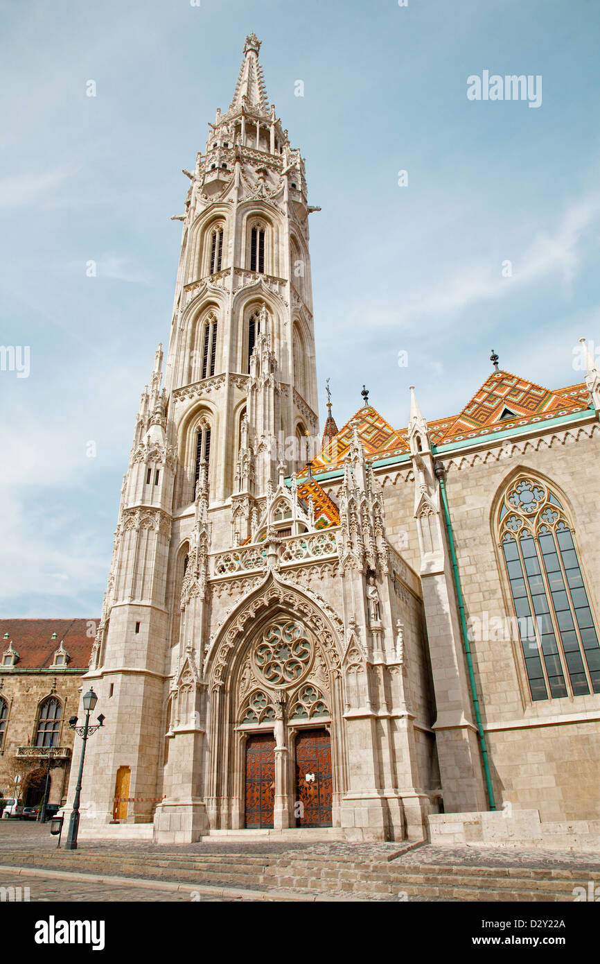 Budapest - St. Matthew's gothic Cathedral from south - Stock Image