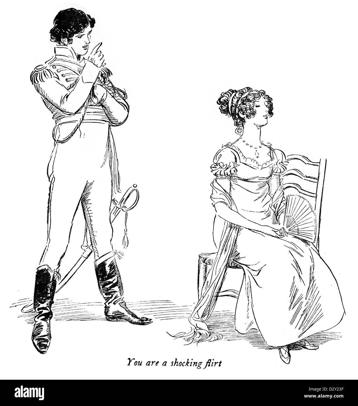 """Illustration from the J. M. Barrie play Quality Street, a comedy about two sisters who start a school """"for genteel Stock Photo"""