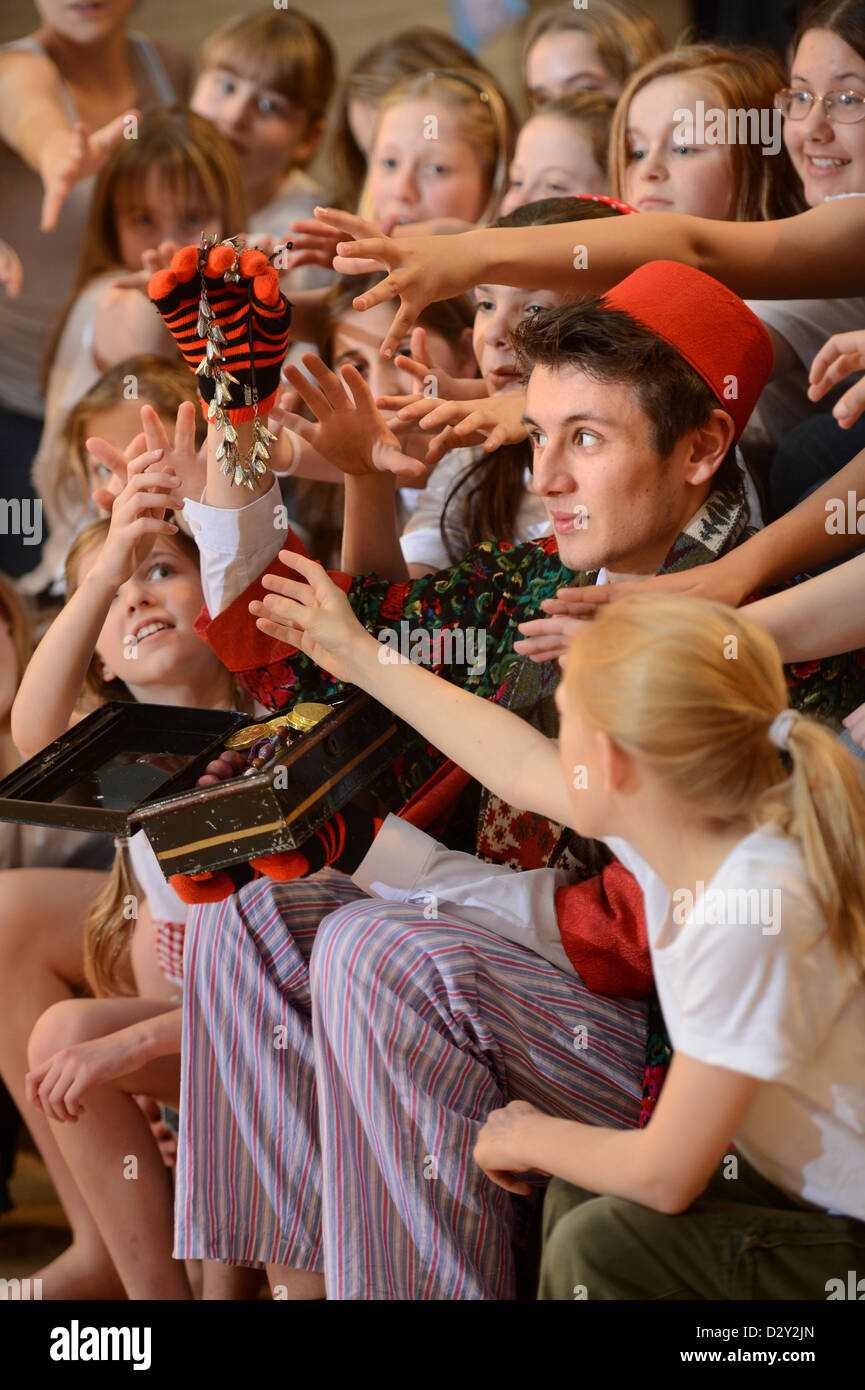 Rehearsals for a school production of Oliver at Pates Grammar School in Cheltenham, Gloucestershire UK - Stock Image