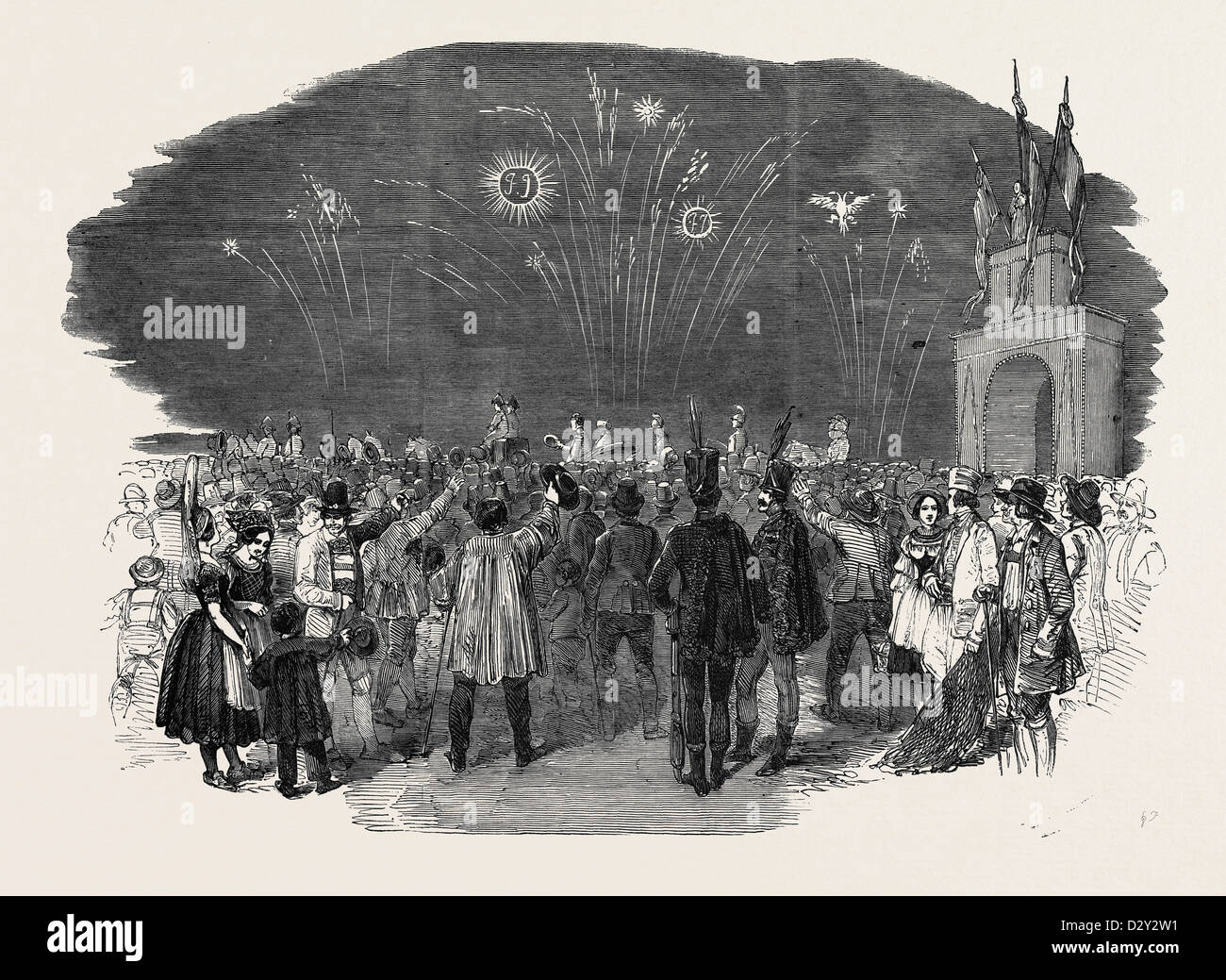 RETURN OF THE EMPEROR OF AUSTRIA TO VIENNA, 1852 - Stock Image
