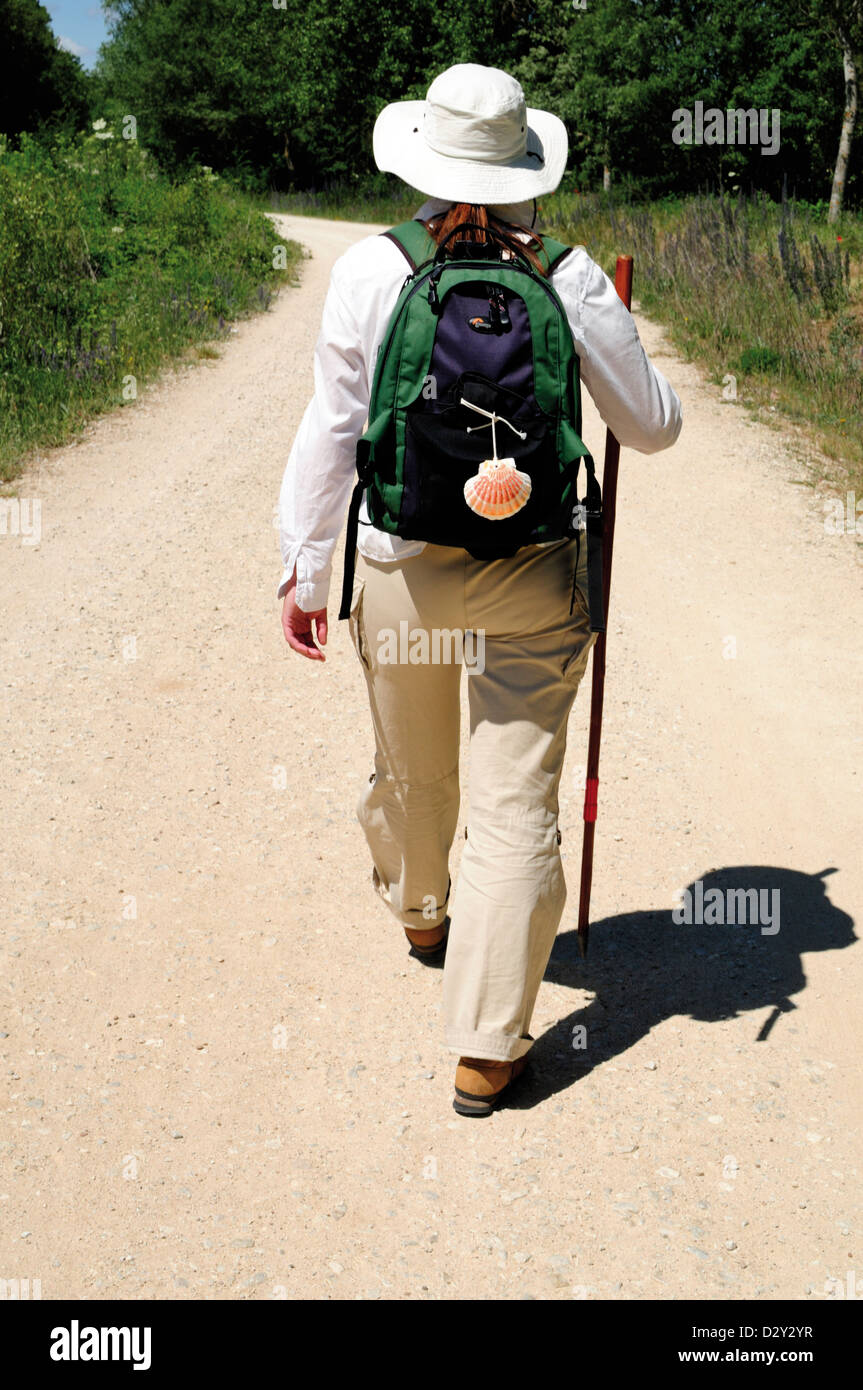 Spain, St. James Way: Pilgrim on the Camino near San Juan de Ortega - Stock Image