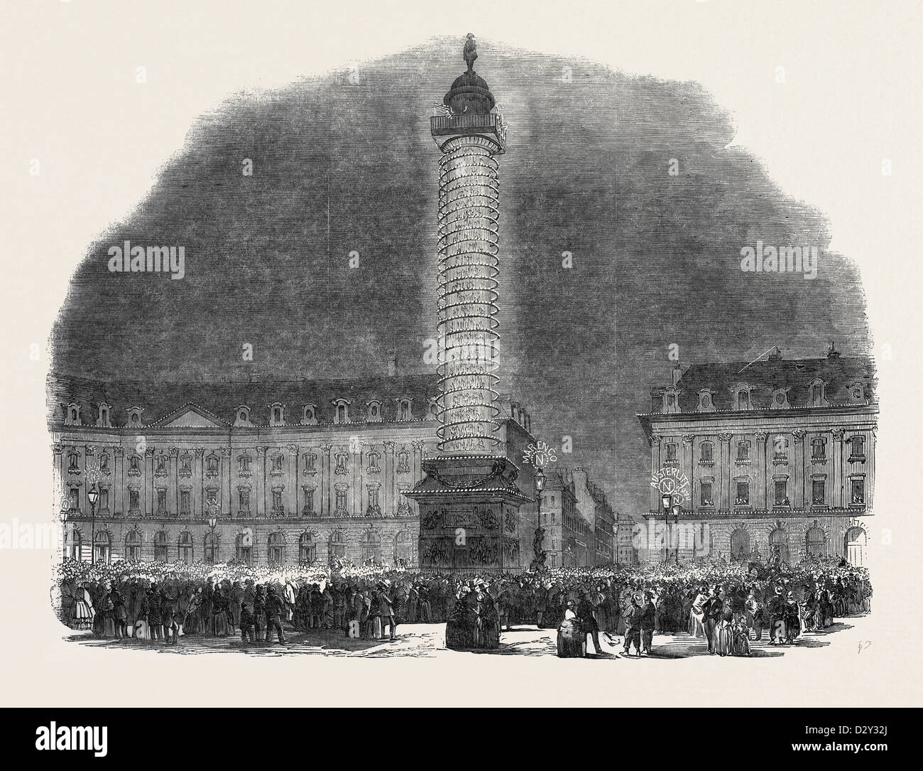 THE COLUMN IN THE PLACE VENDOME, ILLUMINATED, 1852 - Stock Image