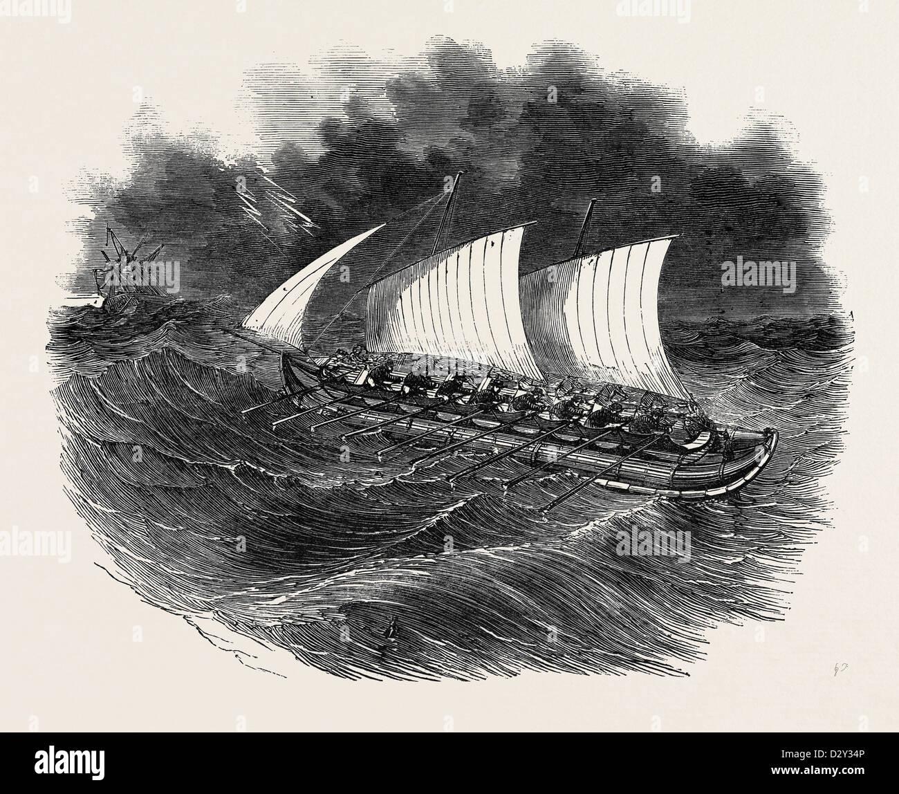 RICHARDSON'S PATENT TUBULAR LIFEBOAT, 1852 - Stock Image