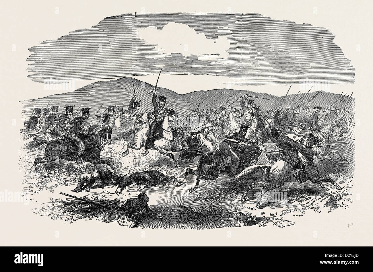 CONFLICT BETWEEN THE 10TH HUSSARS AND COSSACKS, AT KERTCH - Stock Image