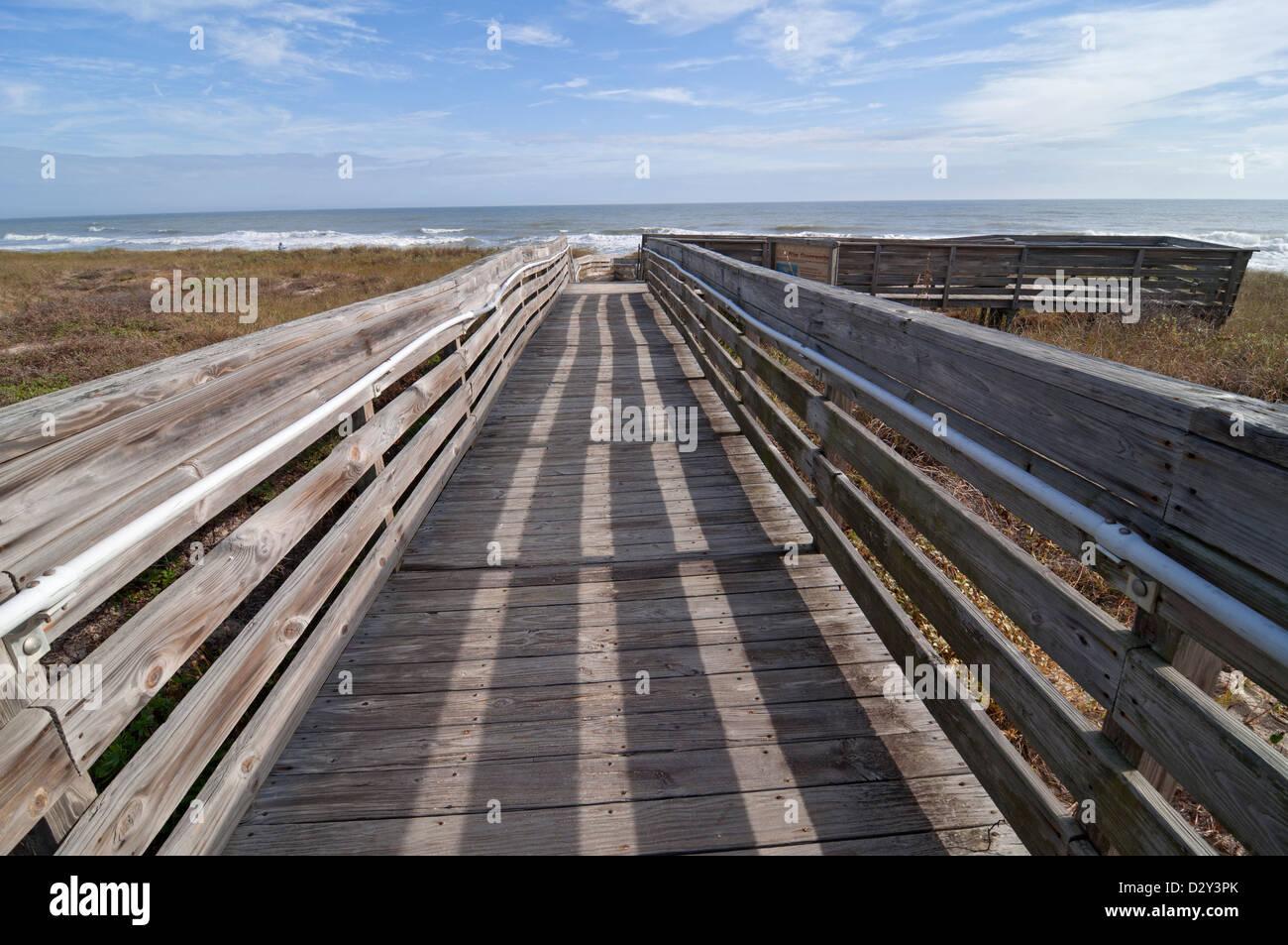 Atlantic beach along coastal North Florida. Guana Tolomato Matanzas National Estuarine Research Reserve near Ponte - Stock Image