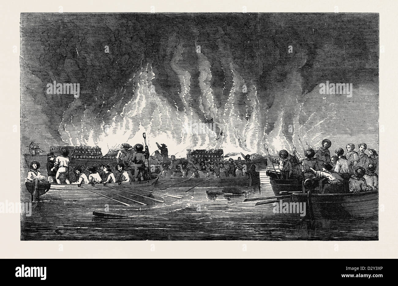 DESTRUCTION OF RUSSIAN VESSELS AT OLD SALIS. - Stock Image