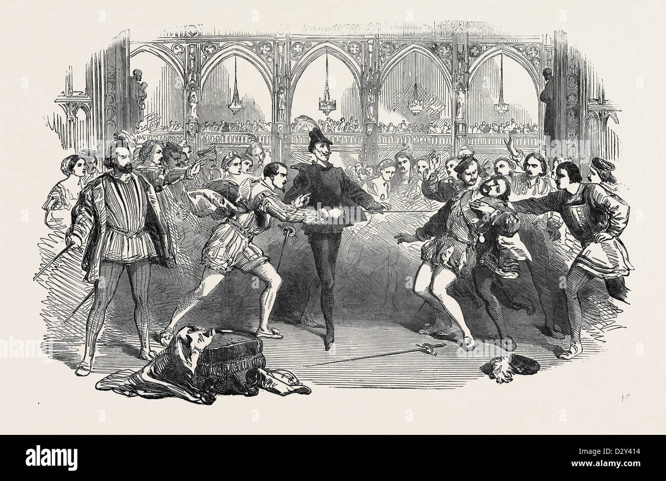 SCENE FROM SPOHR'S 'FAUST,' AT THE ROYAL ITALIAN OPERA, 1852 - Stock Image