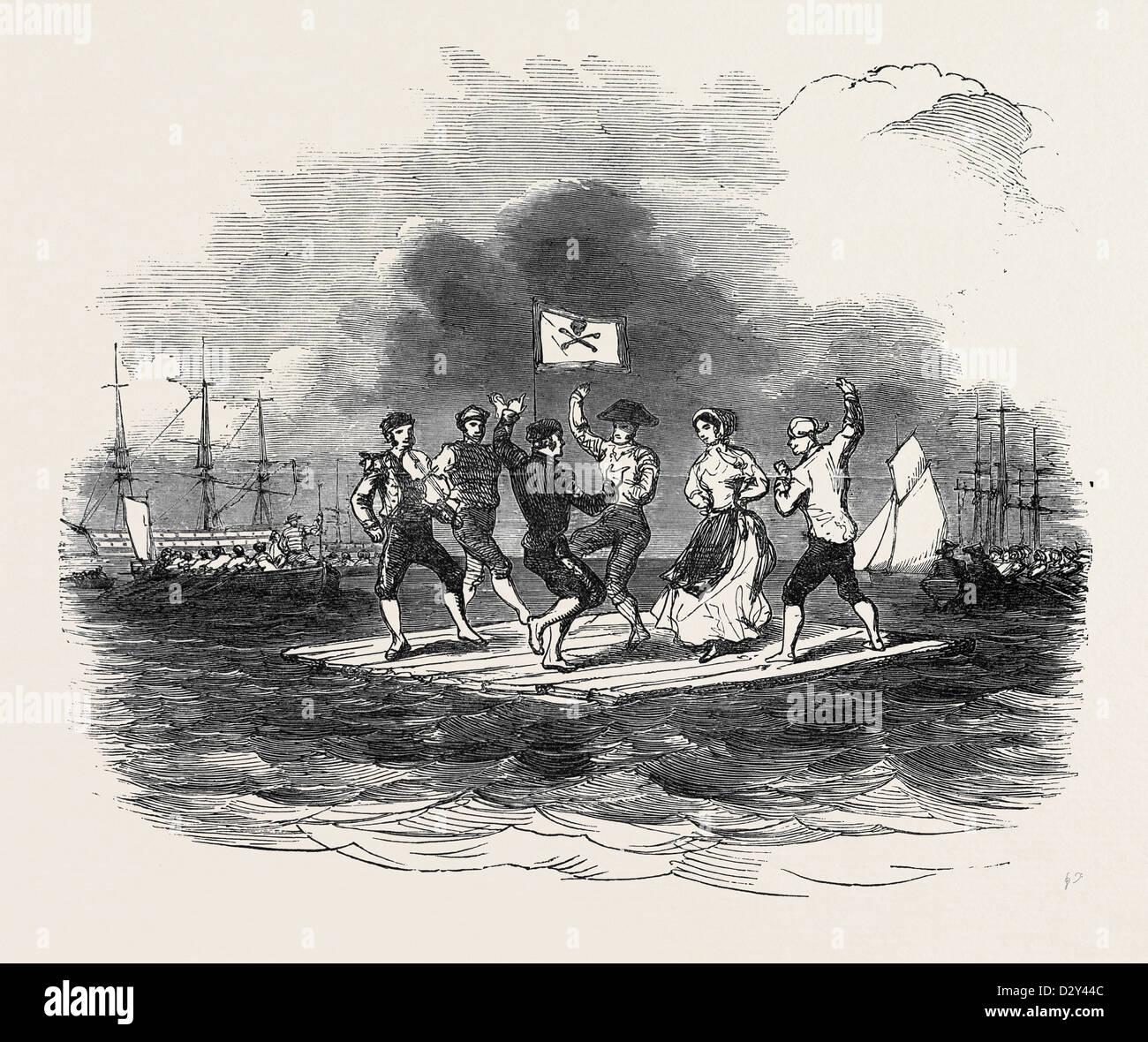 RAFT DANCE AT THE SQUADRON REGATTA, CORK, 1852 - Stock Image