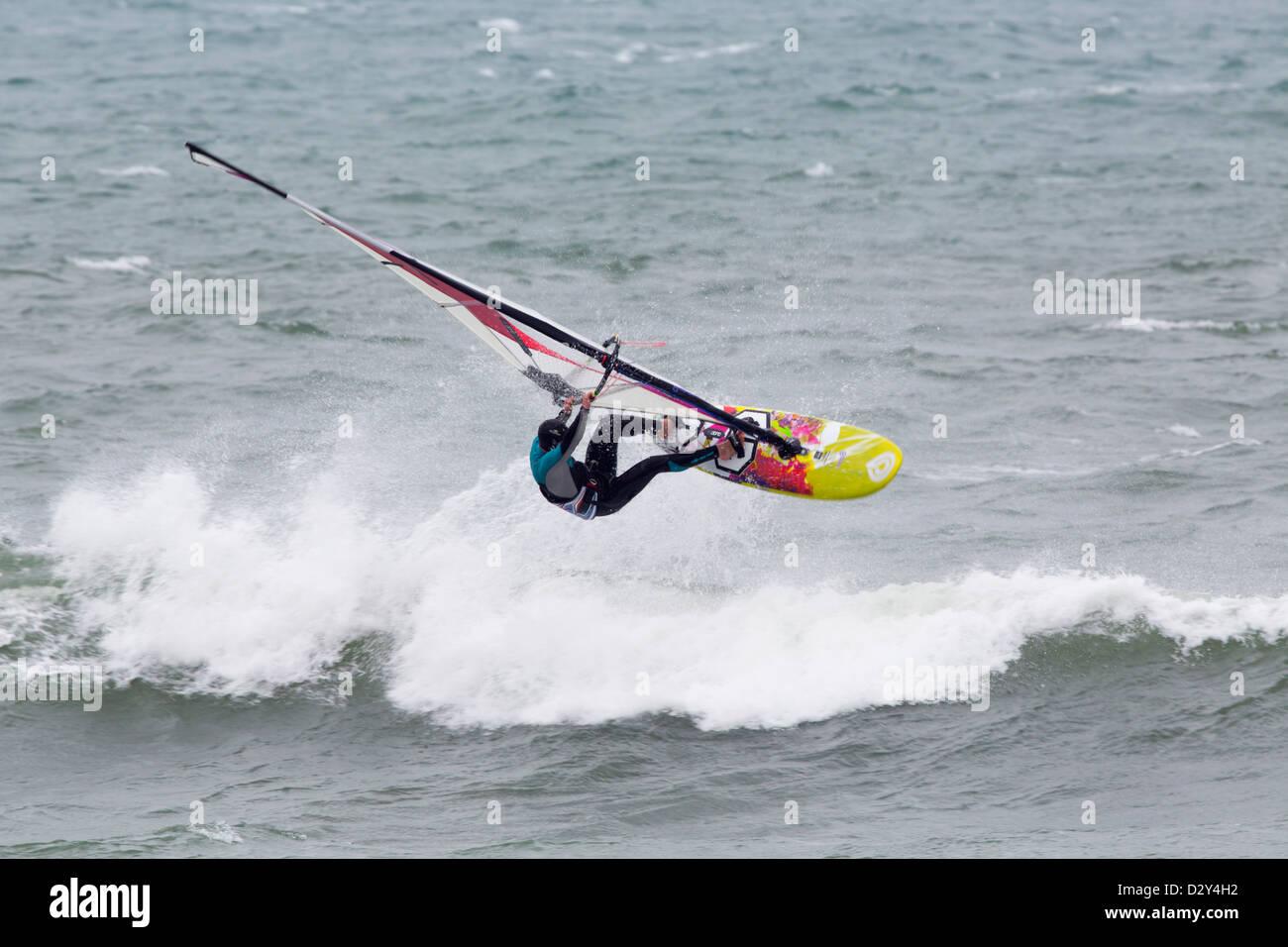 Wind Surfing; Cornwall; UK - Stock Image