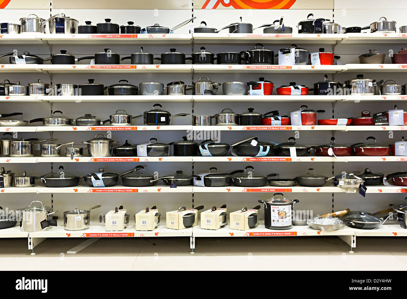 Shelves in shop selling cookware, UK - Stock Image