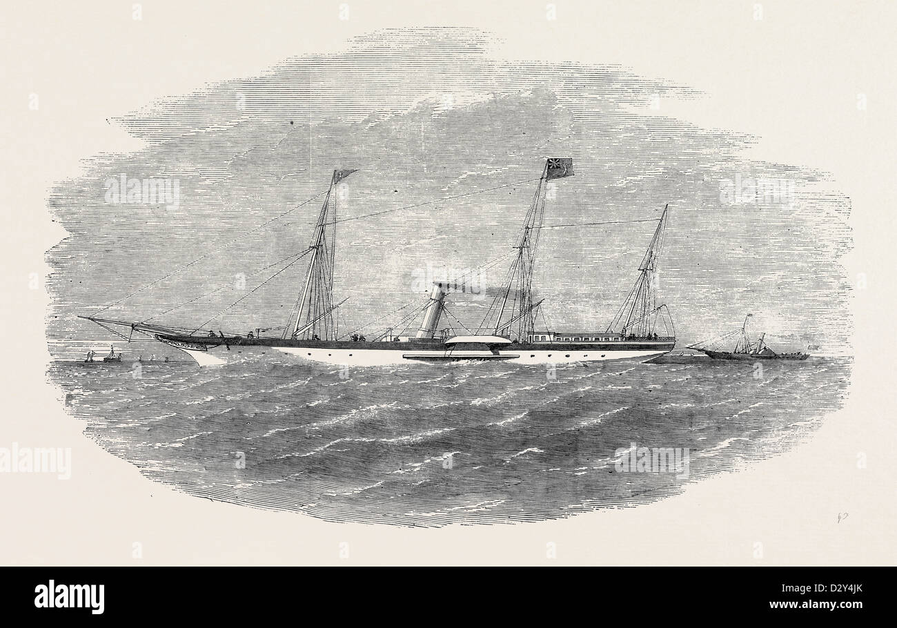 THE YACHT 'MERIEL,' R.H.Y.S., 210 TONS, AND HER TENDER 'NEW QUARTERLY,' 150 TONS - Stock Image