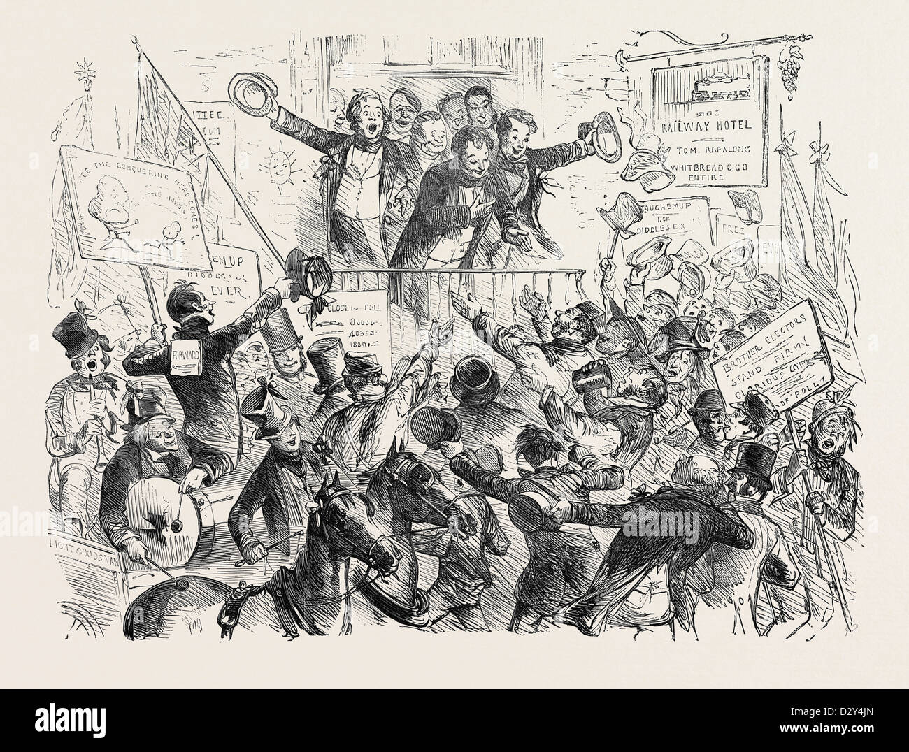 THE SUCCESSFUL CANDIDATE, DRAWN BY PHIZ, 1852 - Stock Image