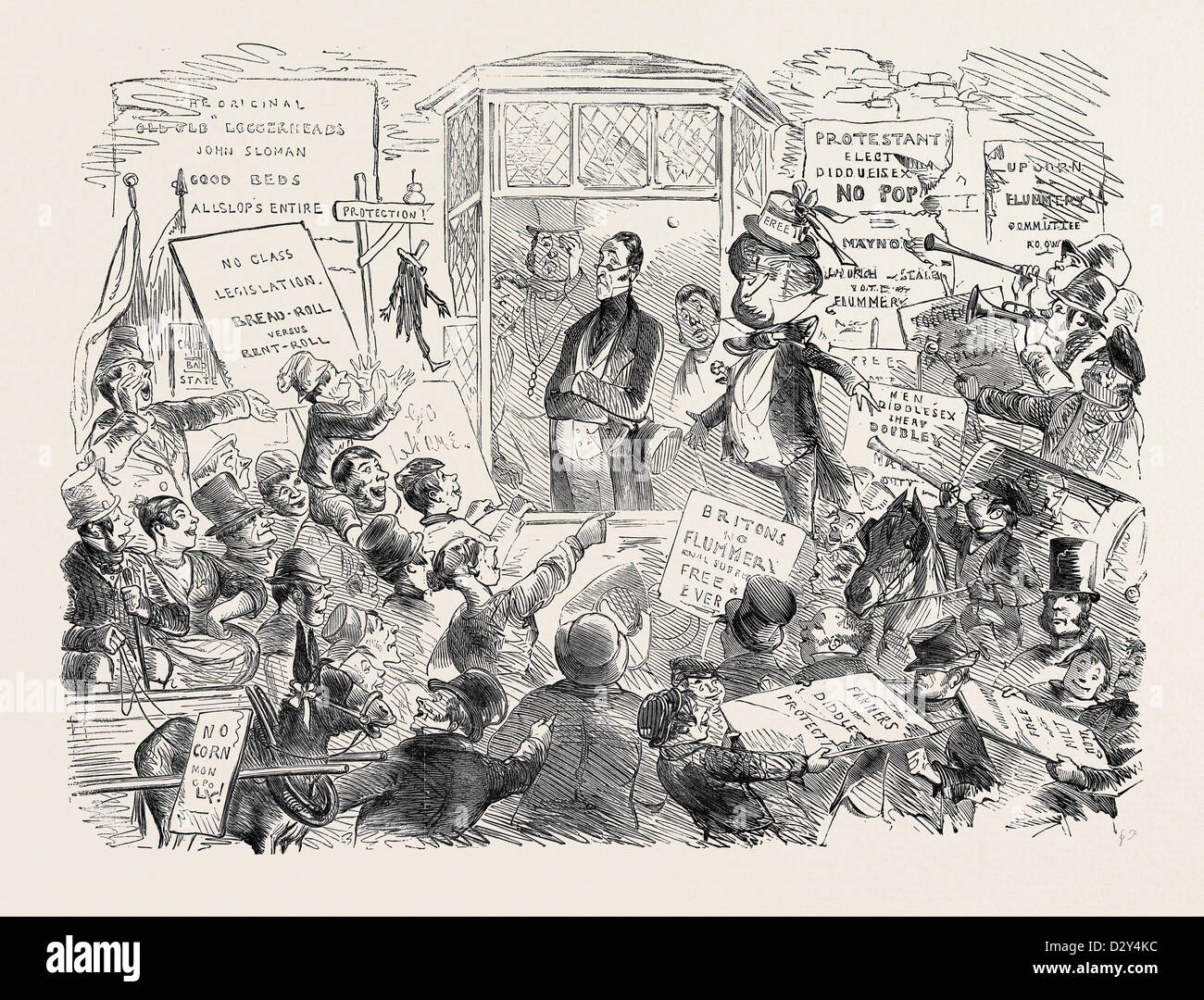 THE REJECTED CANDIDATE, DRAWN BY PHIZ, 1852 - Stock Image