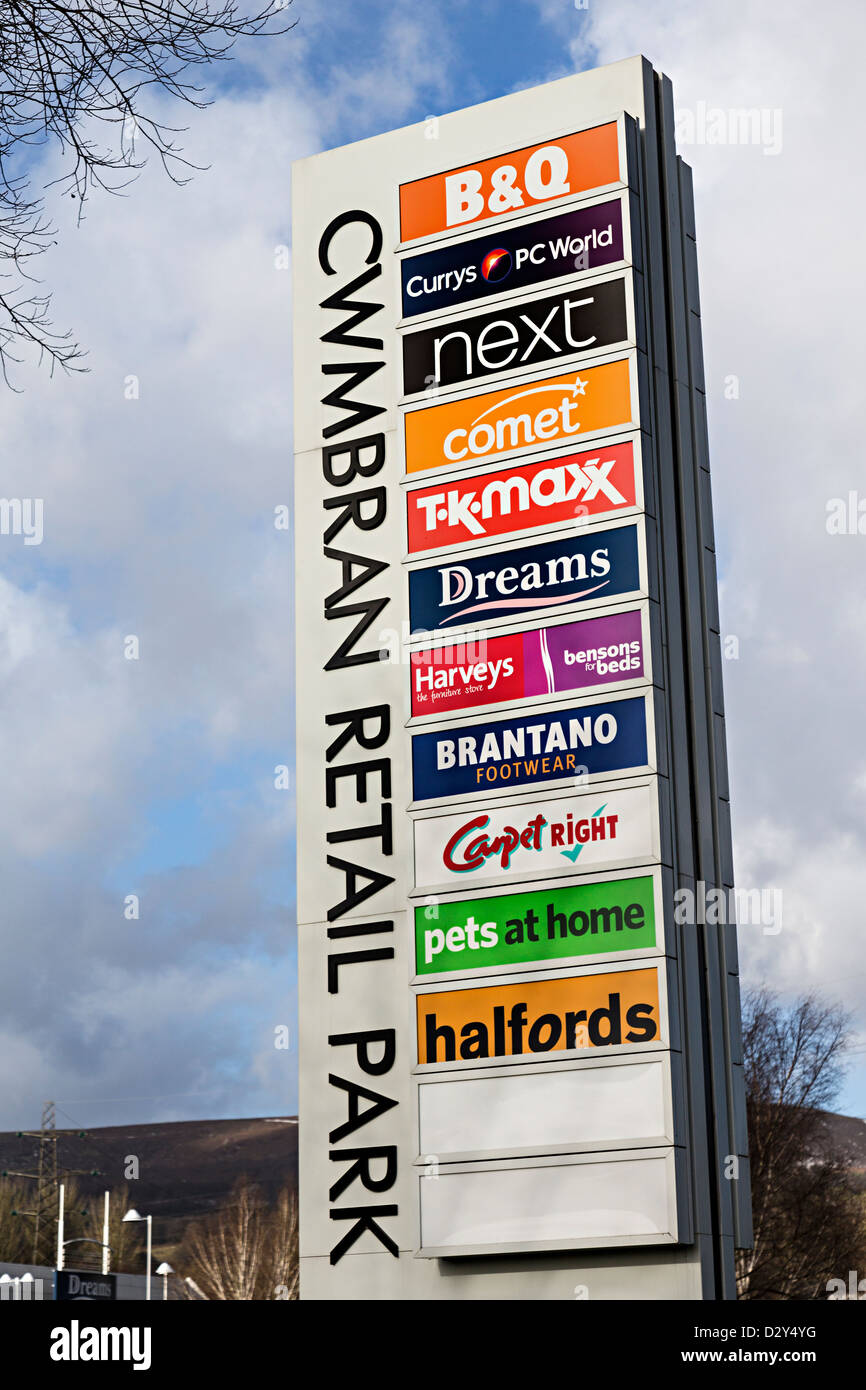 Sign with list of shops at entrance to Cwmbran Retail Park, Wales, UK - Stock Image