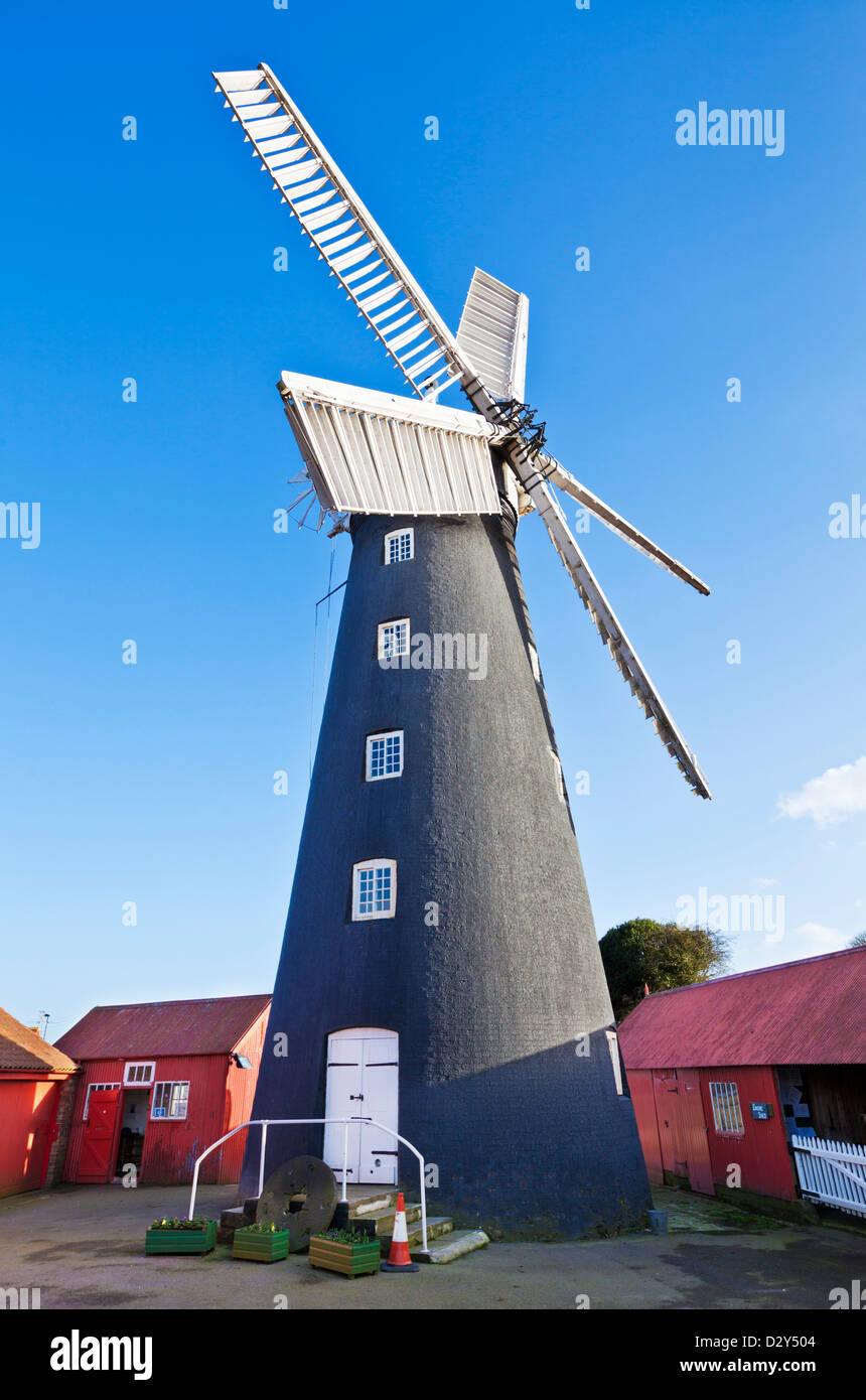 Distinctive black painted Burgh le marsh restored windmill Lincolnshire England UK GB EU Europe - Stock Image