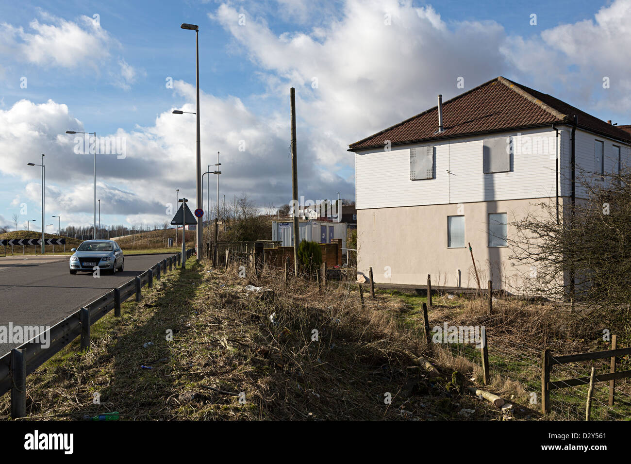 Houses compulsory purchased before widening Heads of the Valleys A465 road at Tredegar Wales UK - Stock Image