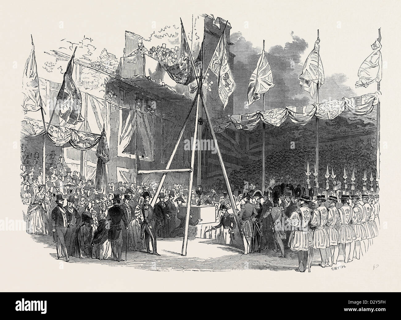 THE DUKE OF WELLINGTON LAYING THE FIRST STONE OF THE WATERLOO BARRACKS, AT THE TOWER OF LONDON, GREAT BRITAIN - Stock Image