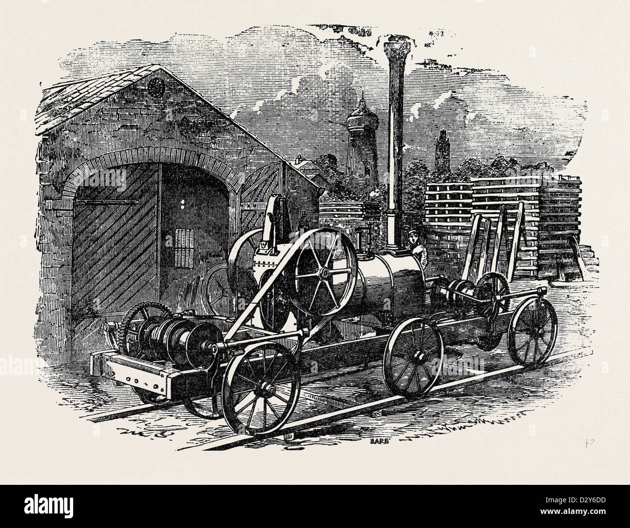 TUXFORD AND SONS' STEAM PILE-DRIVING ENGINE, WITH TWO DOUBLE ACTING PURCHASES FOR LIFTING FOUR RAMS AT A TIME. - Stock Image