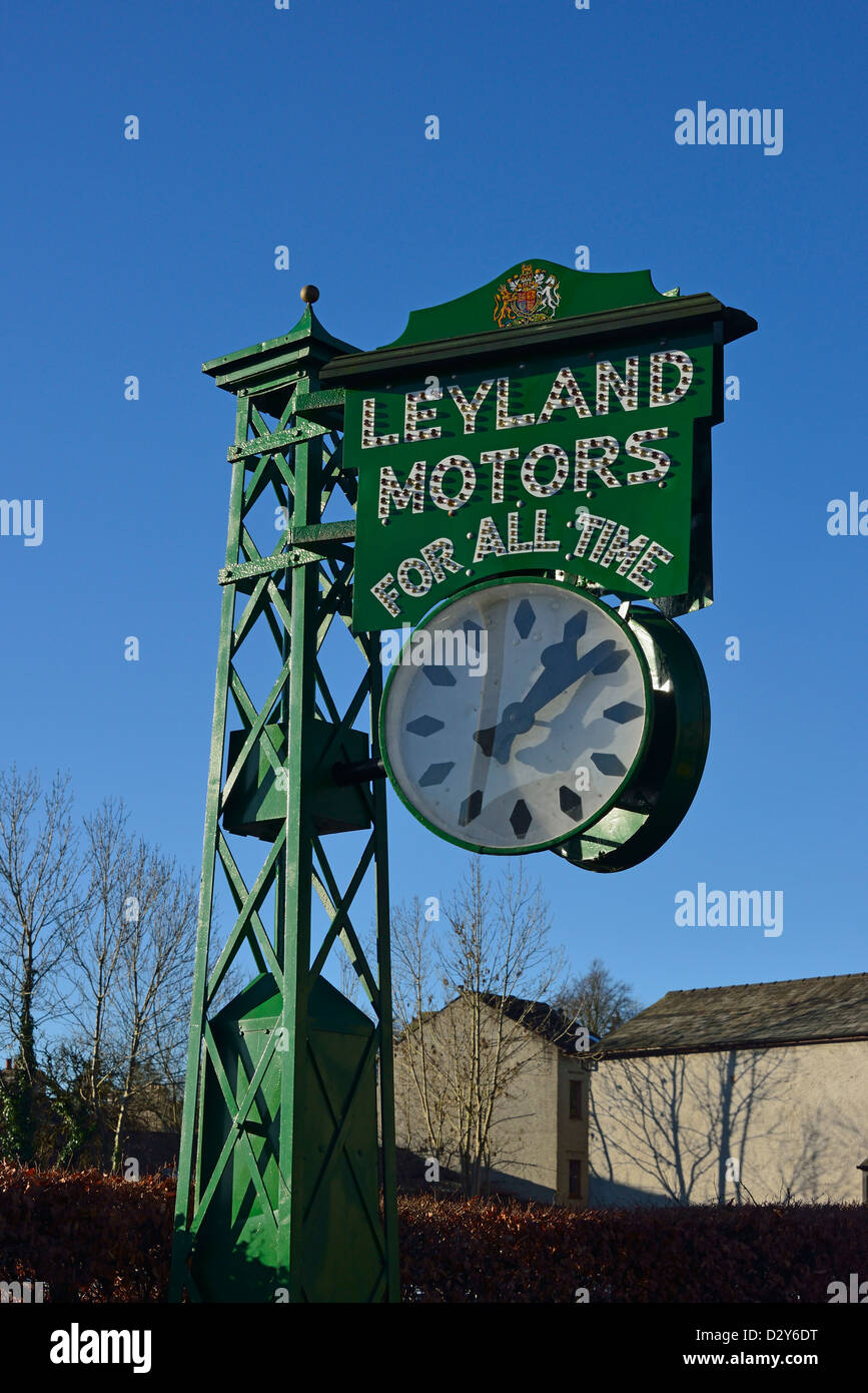 'LEYLAND MOTORS FOR ALL TIME'. The Leyland Clock. Brewery Arts Centre, Highgate, Kendal, Cumbria, England, - Stock Image