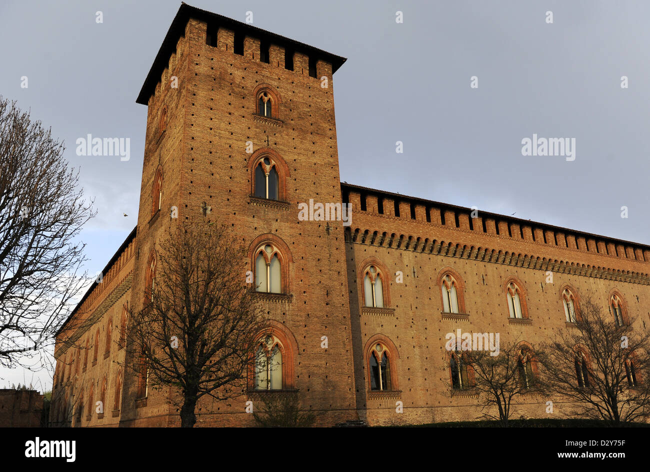 Italy. Pavia. The Castle of Visconti. Built between 1360-1366 by Galeazzo II Visconti (1320-1378). Is now the Civic - Stock Image