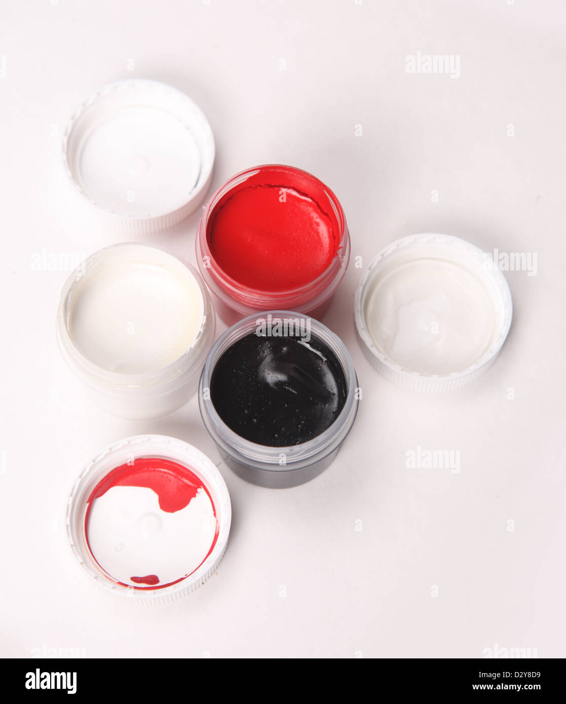 white, black and red gouache - Stock Image