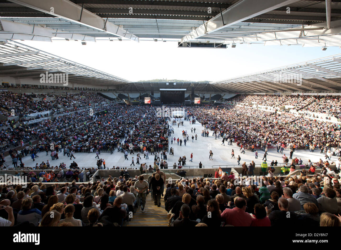 A packed Liberty Stadium waits for music Legend Elton John to take the stage. - Stock Image