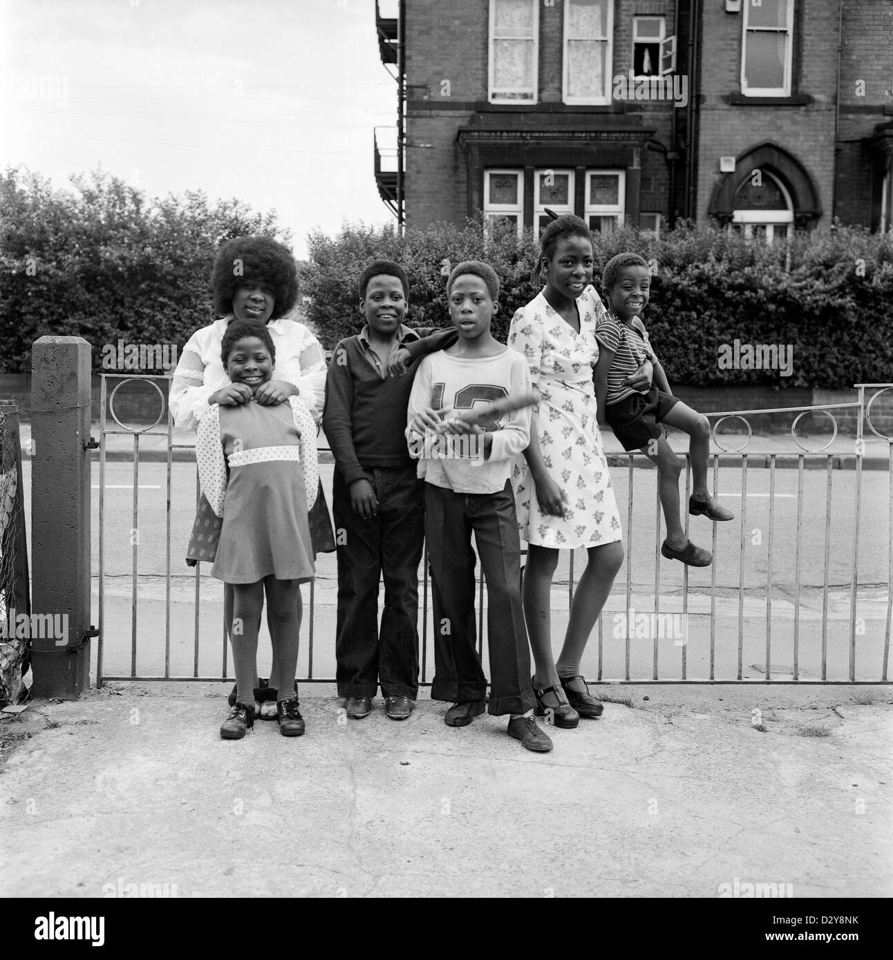 A family of British Afro-Caribbean siblings children in Leeds West Yorkshire England UK  1974 KATHY DEWITT - Stock Image